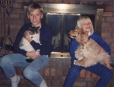 Daniel and Christie with pets